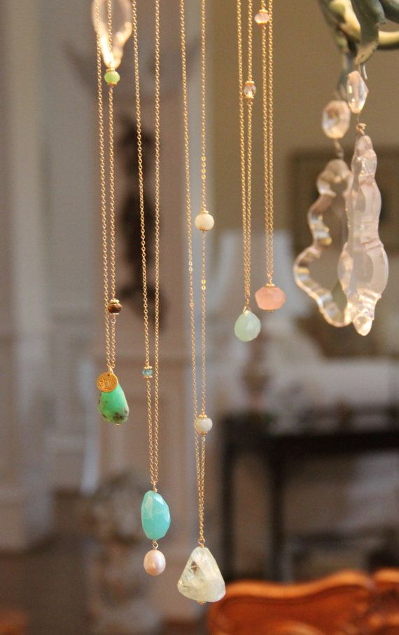 """""""Candy"""" Gemstone Layer Necklaces; Chrysoprase Pendant Necklace Yoga Lotus by HappyGoLuckyJewels, $36.00"""