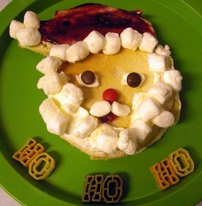 Santa pancakes with jam hat + marshmallow beard