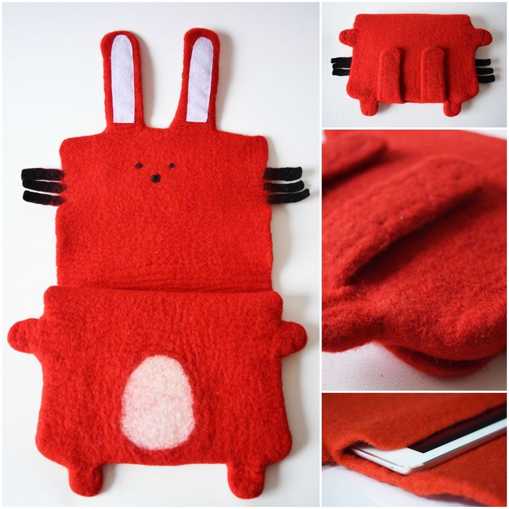 Technique: felted Material: wool Adorjan is an adorable bunny. His stomach is the safest place for your gadget. Sleeve is made of merino wool. with velcro closure. The case can be also made for kindle, tablet etc. Size and form is up to you. Size: 18 x 25 cm