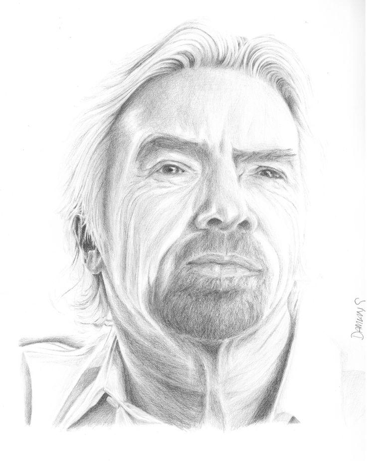Sir Richard Branson - Pencil drawing. by Damian Smith. DamiansART.com