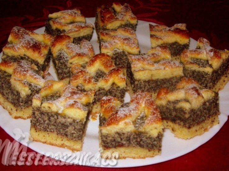 Almás-mákos, rácsos sütemény