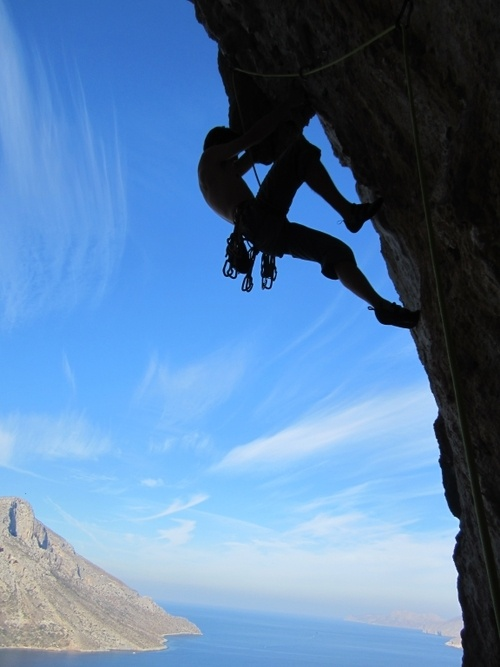 Magnus Jahre climbing Petranta 7a+, Iannis, Kalymnos. There's something about those climber silhouette photos that's just so damn cool.
