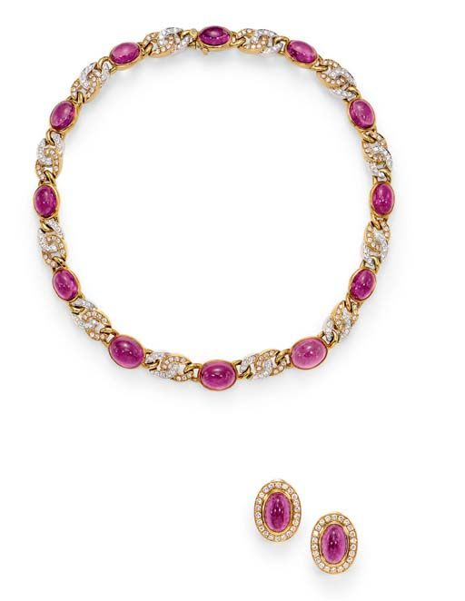 A SUITE OF PINK TOURMALINE AND DIAMOND JEWELRY   Comprising a necklace, designed as a series of bezel-set oval cabochon pink tourmalines, spaced by diamond-set 18k white and yellow gold interlocking links; and a pair of ear pendants en suite, mounted in 18k gold, necklace 16 ins.  Necklace signed Gucci