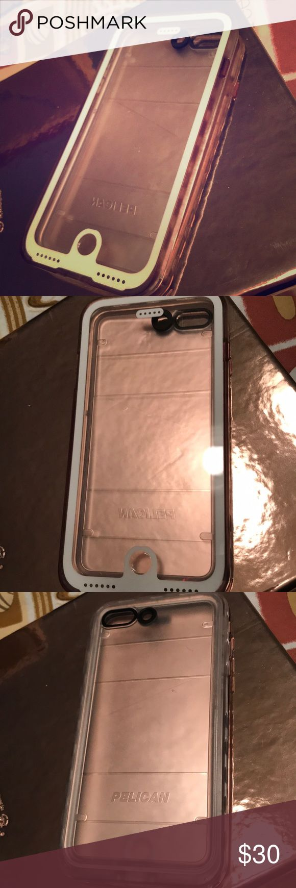 Waterproof iPhone case Used pelican waterproof iPhone 7 Plus case clear with white edges in front. Has a couple scratches on the back and some over where the camera is but never effected my pictures. Make me an offer 😁 Other