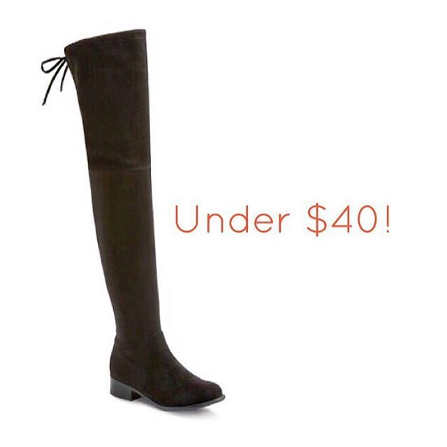 Y'all! This is so good, I have to share with you ASAP! I've been eyeing the Stuart Weitzman over-the-knee boots FOREVER, but I just couldn't get myself to bite the bullet on the price tag! OTK boots are EVERYthing for fall/winter. They go with jeans, dresses, even shorts (if you wear them right)! I just found you an amazing pair that is a total dupe for the SW ones and on sale for only $39.99!  But I promise you they will fly off shelves like hot cakes, so get them now! PS- they're only on…