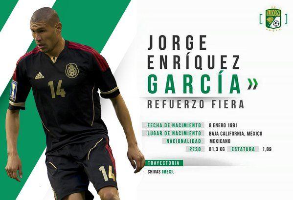 EL CLUB LEÓN CONFIRMA A 'CHATÓN' COMO REFUERZO Jorge Enríquez es nuevo refuerzo del León. El Club León confirmó la llegada de Jorge Enríquez y Germán Cano al cubil de La Fiera para el Clausura 2016.