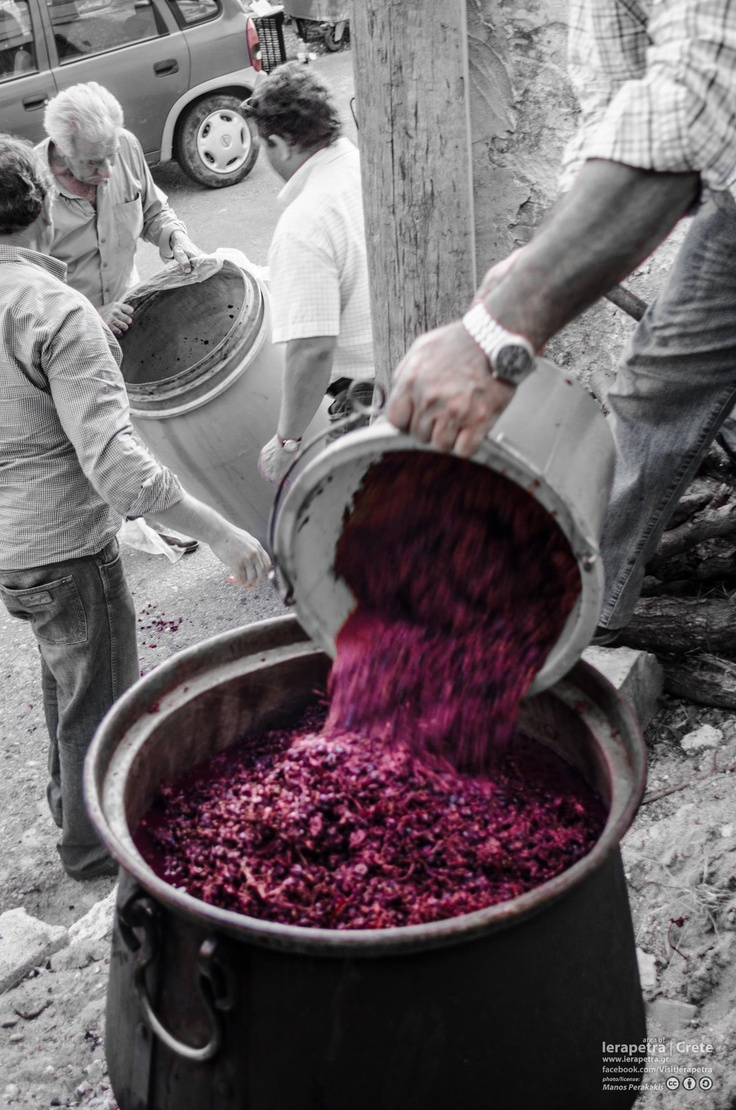 The new grape strafyla are filled into the Kazani.