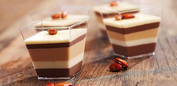 Matildas Mat - Randig pannacotta med smak av mörk choklad, vit choklad och dulce de leche