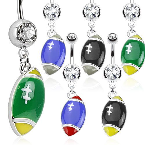 Sparkling Multi Coloured Football Navel Ring - Spotrs Dangle Body Jewellery. Find it at www.tummytoys.com.au