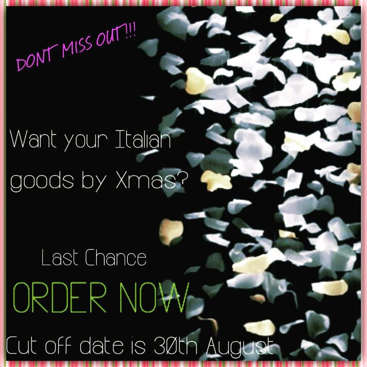 DONT MISS OUT! ORDER NOW AND GET YOUR GOODS BEFORE XMAS