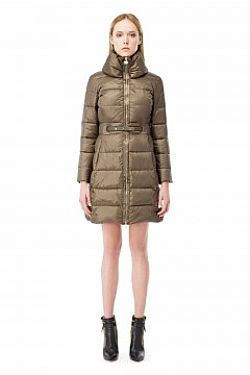 ELISABETTA FRANCHI LONG QUILTED COAT WITH MAXI COLLAR