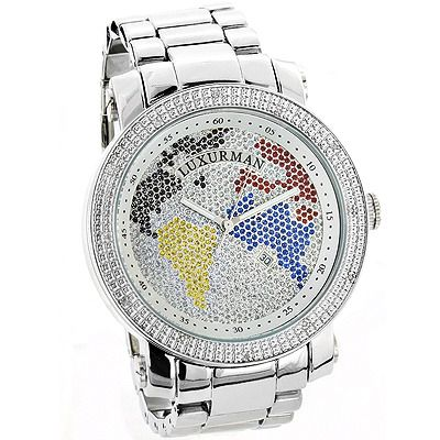 209 best icy images on pinterest all alone dashboards and clocks luxurman world map mens diamond watch 012ct yellow gold plated sciox Choice Image