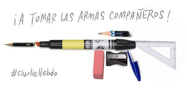 Amazing! @TheTurkishLife: Spanish cartoonists are sharing this image with the message: @sicevis #CharlieHebdo ""