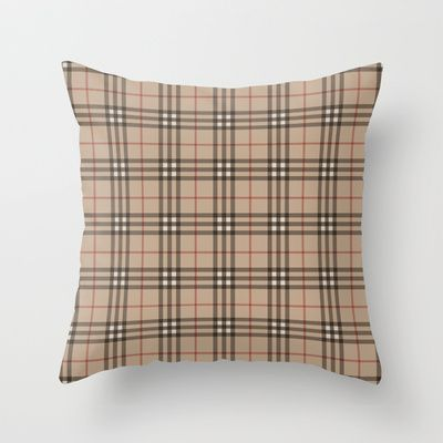 Burberry plaid Designer pattern Throw Pillow