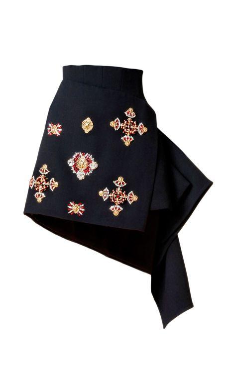 DESIGNER: FAUSTO PUGLISI SEE DETAILS HERE: Edinburgh Embroidered Wool Crepe Skirt