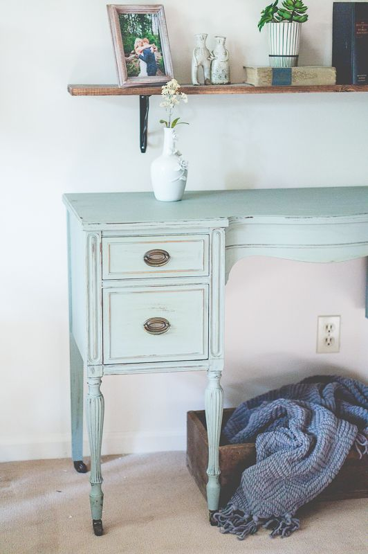 Antique Desk Transformation with Greenish Gray Paint - Pearl Girl Creates