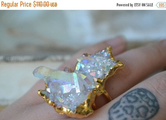 GIVE THANKS SALE Aura /// Crystal Quartz Cluster Ring /// Opal Aura /// Size 8.5 by luxdivine on Etsy https://www.etsy.com/listing/387489466/give-thanks-sale-aura-crystal-quartz
