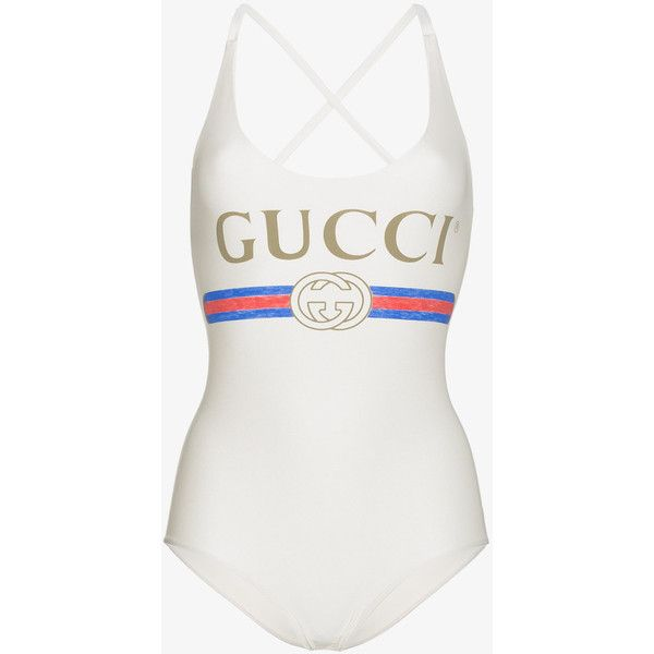 349321fb26 Gucci Fake Logo Front Swimsuit ($405) ❤ liked on Polyvore featuring ...