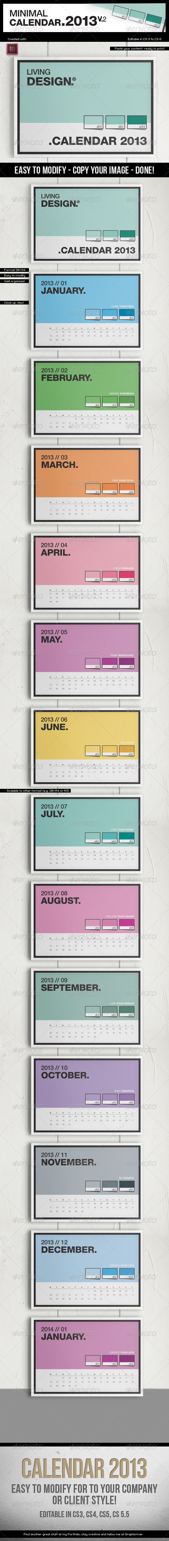 Calendar 2013 v2 // A4 Template // Pantone ® Style Get the source files for download: http://graphicriver.net/item/calendar-2013-v2-a4-template-pantone-style/3243544
