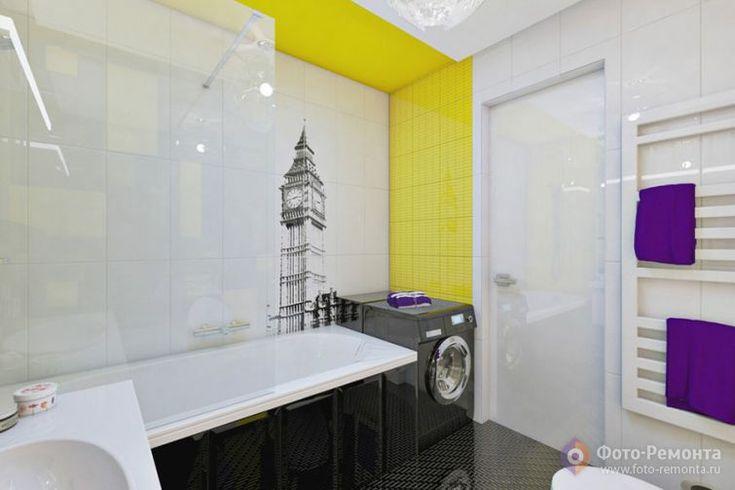 Дизайн интерьера ванной в черном цвете, крупная плитка с Биг Беном для увлекающихся туманным Альбионом и яркие желтые акценты