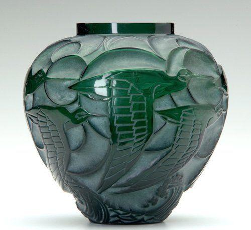 """René Lalique (1860-1945), Art Deco Glass Vase, """"Courlis,"""" deep green."""