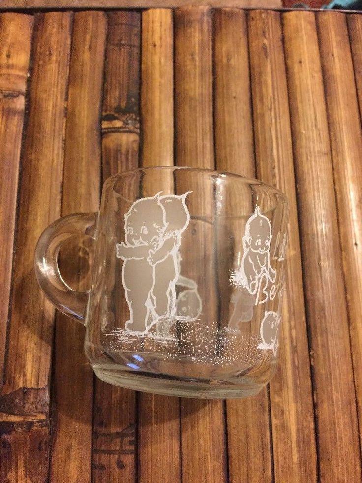 Vintage Kewpie Doll Cup Lets Be Happy Clear Coffee Mug The Love Tree