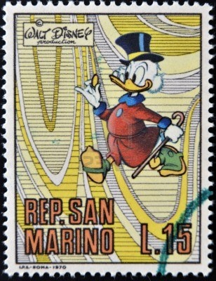 SAN MARINO - CIRCA 1970 A stamp printed in San Marino shows Scrooge McDuck, cartoon character of Walt Disney