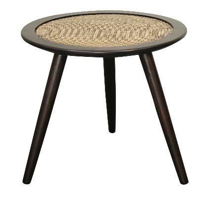 Vintage Inspired Tripod Round Mindi Wood Rattan End Table Black - Harrington Galleries