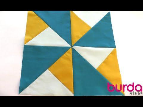 Patchwork für Einsteiger - In diesem Video erklären wir euch Schritt für Schritt, wie ihr diesen schönen Viererblock aus Dreiecken näht. Die Grundlage für Patchwork-Kissen oder -Decke mit Windmühlenmuster. Video: Lena Klippel/Theresa Bachler