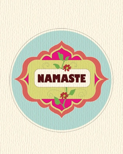 Namaste Indian Floral Ring Poster Print,  Yoga Inspired Original Wall Art for Home or Workplace.  via Etsy.