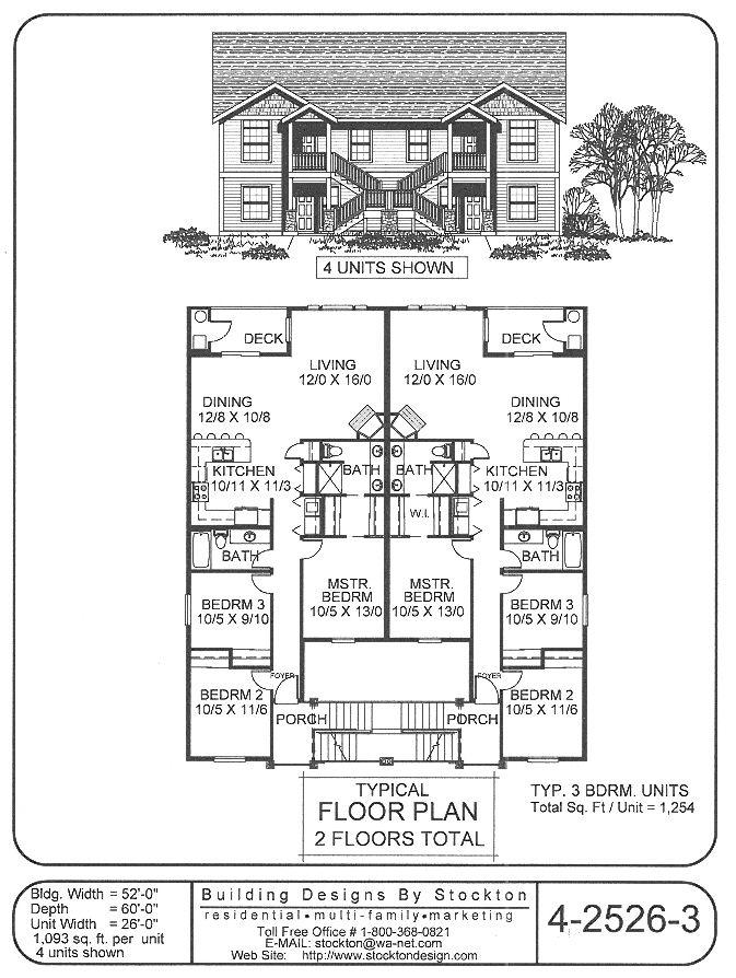 9 best rental property house plans images on pinterest for Townhouse construction plans