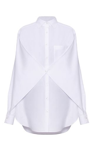This **Bevza** shirt features a pointed collar, full length sleeves, and a gathered detail at the bodice.