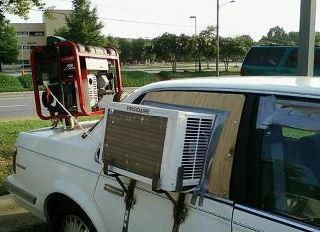 We wonder if he realizes the cost of gas will be more then the cost of purchasing a new AC unit for his car.
