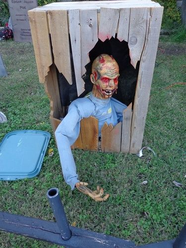 This guy is made with a 7.99 Styrofoam wig head and pvc