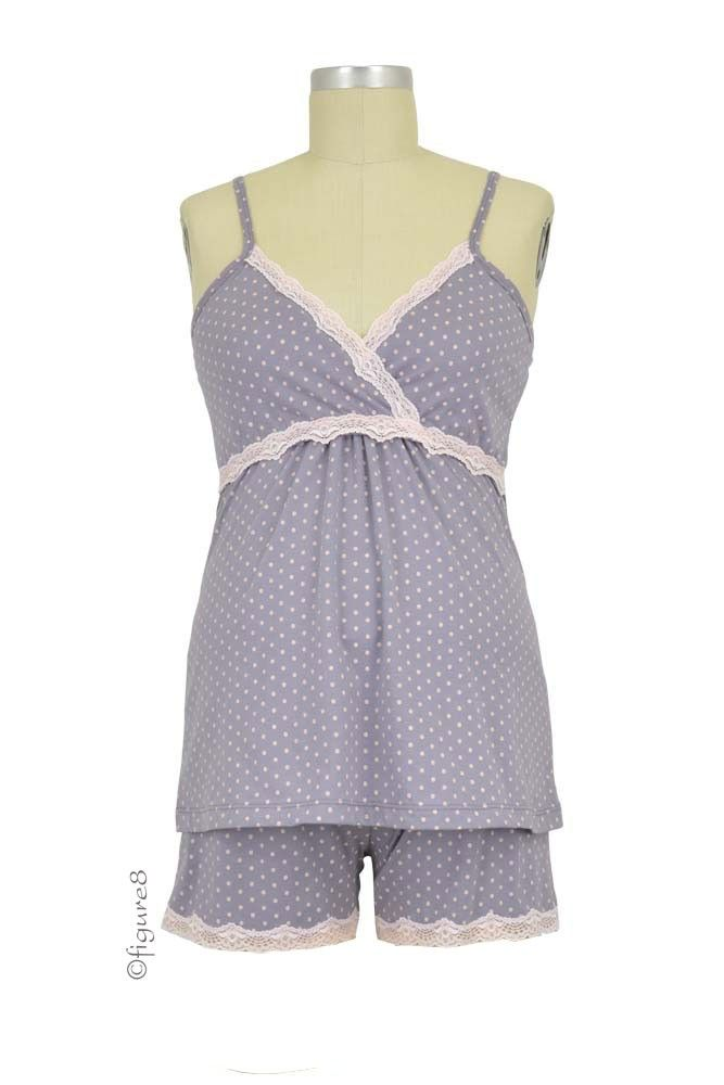 Belabumbum Dottie Nursing Cami & Short Set in Grey Dot. Please use coupon code NewProducts to receive 15% off these items. To receive the discount, please place your order by midnight Monday, April 13, 2015
