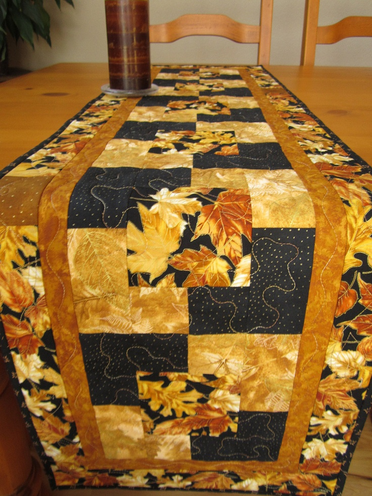 Fall Quilted Table Runner Gold Leaves, Quilted Table Runners. $48.00, via Etsy.