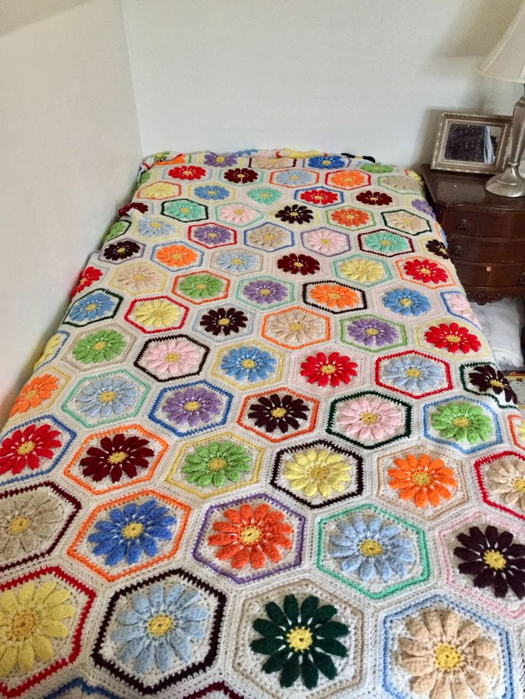 Afghan crochet colorful floral single bed afghan handmade floral crochet throw single size bed cover hexagon style vintage afghan by GlyndasVintageshop on Etsy