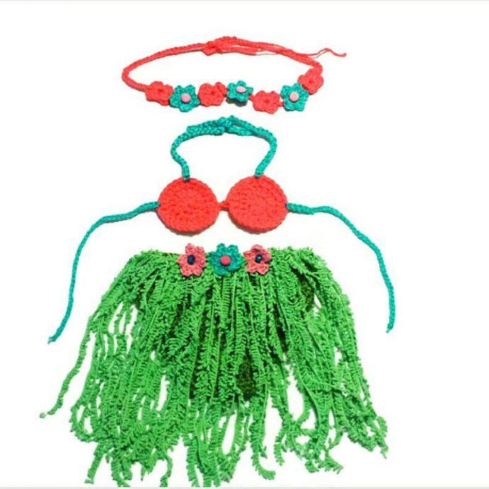 Newborn Baby Girl Crochet Set, Summer Props, Hawaii Girl Set, Hula Dancer, Beach Outfit by handmadetrend, $32.00 USD