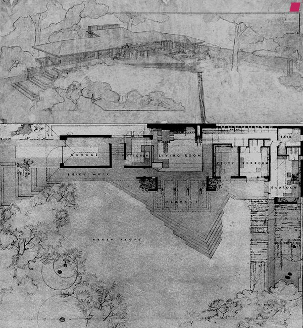 Pespective and Plan. Malcolm Willey House. 1932-4. Minneapolis, Minnesota.Usonian Style. Frank Lloyd Wright