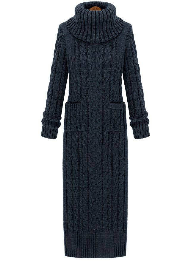 Dark Grey High Neck Split Cable Knit Sweater Dress. It's kinda funky but it looks so warm and cozy! Just what I need when I go to Germany for Christmas this year!