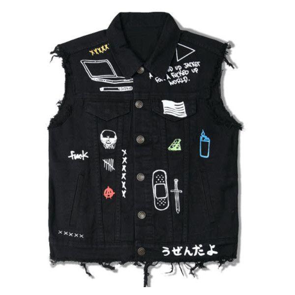 XXXX Denim vest (385 CNY) ❤ liked on Polyvore featuring men's fashion, men's clothing, men's outerwear, men's vests, mens denim vest, mens vests outerwear and mens vest