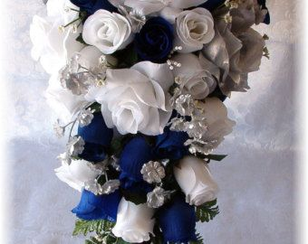 Items similar to Marine Wedding Bouquet 21pc Navy Blue White Silver Silk Flowers Bridal Cascade Roses on Etsy