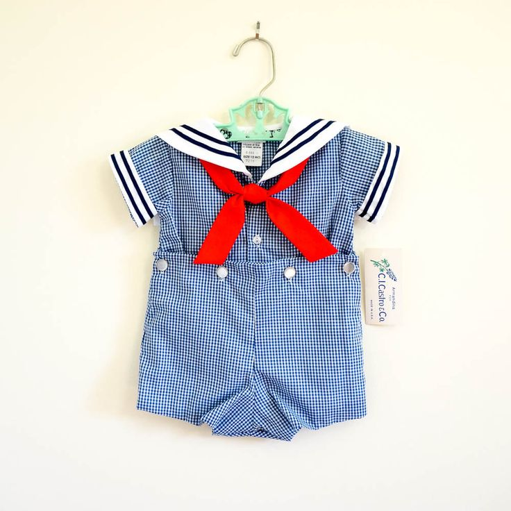 Vintage 1980s Toddler 12M Playsuit / 80s Ci Castro Sailor Two Piece Playsuit NWT / Blue White Gingham, Red White Blue, Nautical by AttysSproutVintage on Etsy