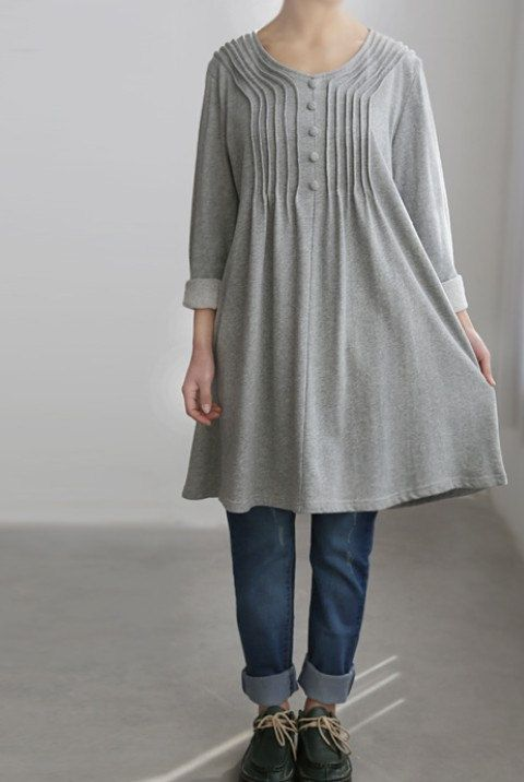 Cotton accordion pleats dress/ cotton Long t shirt/ by MaLieb