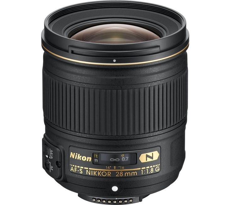 NIKON  AF-S NIKKOR 28 mm f/1.8 G Wide-angle Prime Lens Price: £ 459.00 Capture wide perspectives, from tight indoor spaces to stunning cityscapes with the Nikon AF-S NIKKOR 28 mm f/1.8 G Wide-angle Prime Lens. Optimum performance This FX-format 28 mm f/1.8 G Wide-angle features a fast f/1.8 aperture for sharp shooting in low light and for capturing a beautifully smooth bokeh. The...