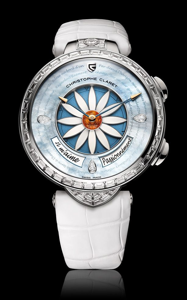 Each time you press the button at the  2 o'clock postion on Christophe Claret's Margot, one or two petals disappears under the dial--it's random. He loves me ... he loves me not ... The answer appears in French on the dial at 4 o'clock: Un peu (a little), beaucoup (a lot), passionnément (passionately), à la folie (madly) or (gasp!) pas du tout (not at all).