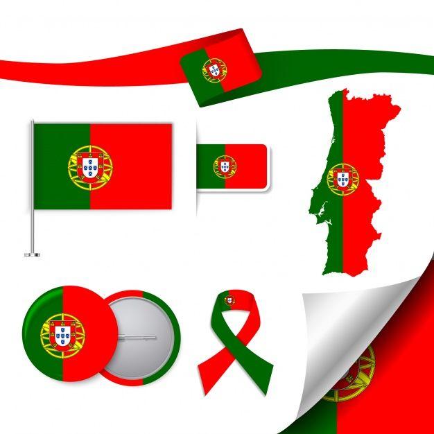 Collection d'éléments de papeterie avec le drapeau du design Portugal ~ Vecteur gratuit