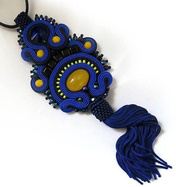 Boho Royal blue colorful necklace soutache OOAK statement
