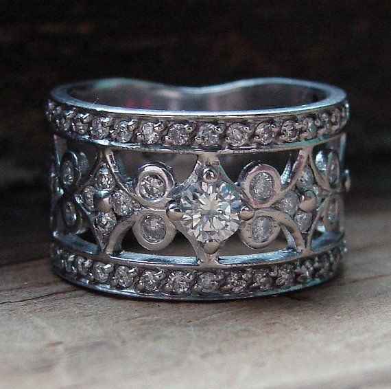 Beautiful Diamond Bands: Antique Wedding Band , Vintage White Gold Diamond Band