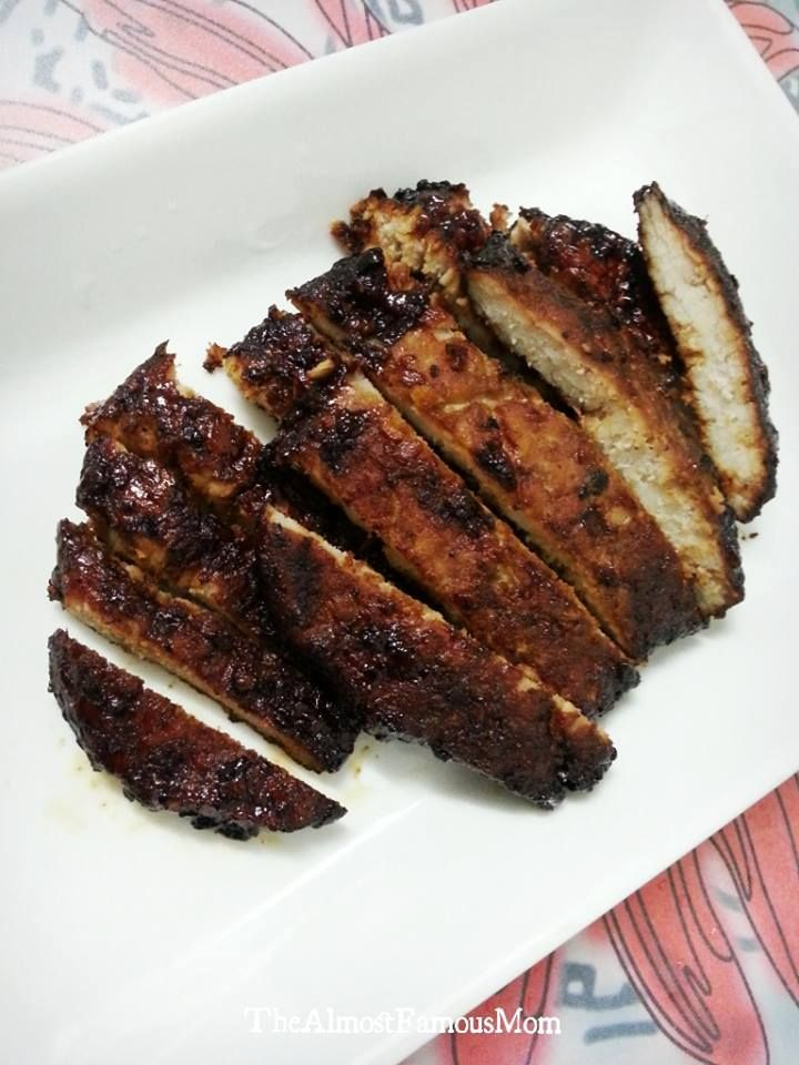 Chili glazed grilled pork belly strips